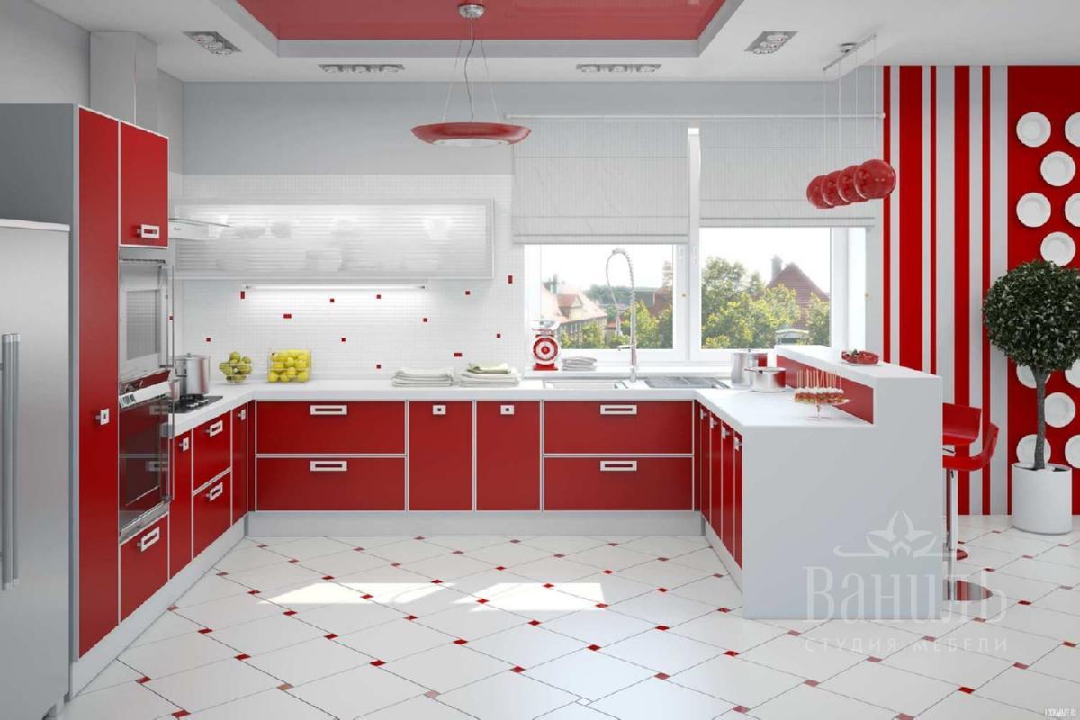Дизайн кухни 2018 в красных тонах