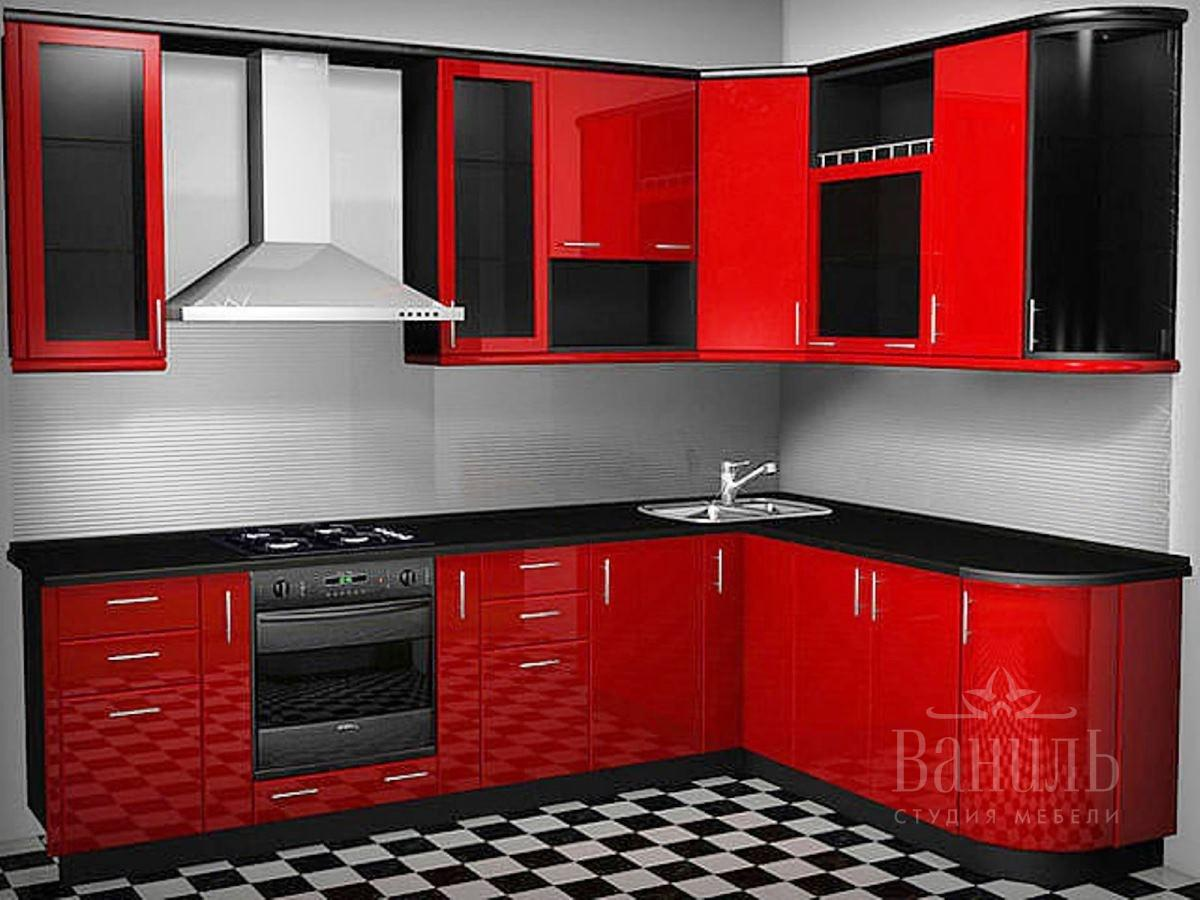 чёрно красная кухня фото